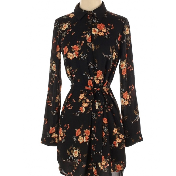 S Floral Collared Long Sleeve Shirt Dress